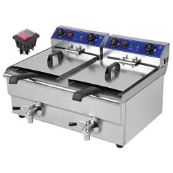 Chennly 26L Professional Electric Deep Fryer – Commercial Stainless Steel Double Container ...