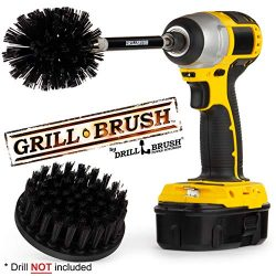 Grill Brush – Grill Accessories – Drill Brush – Black Ultra Stiff Bristle Clea ...