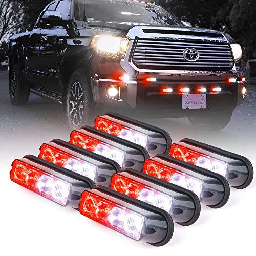 Xprite White & Red 4 LED 4 Watt Emergency Vehicle Waterproof Surface Mount Deck Dash Grille  ...