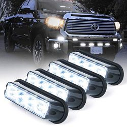 Xprite White 4 LED 4 Watt Emergency Vehicle Waterproof Surface Mount Deck Dash Grille Strobe Lig ...