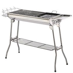 ISUMER Portable Folding Charcoal BBQ Grill – Stainless Steel Thickened Barbeque Grill for  ...