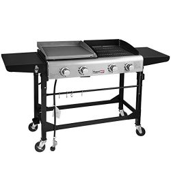 Royal Gourmet Portable Propane Gas Grill and Griddle Combo,4-Burner,Griddle Flat Top, Folding Le ...