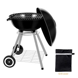 Miady 18-Inch Portable Kettle Charcoal Grill, Charcoal Barbecue Grill, BBQ Grill with Waterproof ...