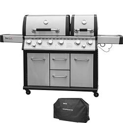Royal Gourmet Mirage MG6001-R Two Split Lid 6-Burner Cabinet Propane Infrared Burner Gas Grill,  ...