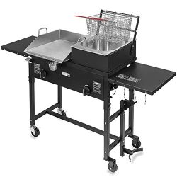 Barton 58,000 BTU Outdoor Gas Propane Double Burner Stove Cook Station Flat Top Griddle and Deep ...