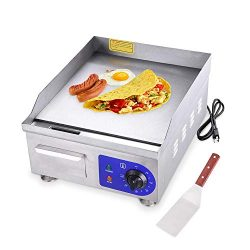 Koval Inc. 15″ 1500W Food Electric Griddle Countertop Grill Commercial (15″ 1500W, S ...