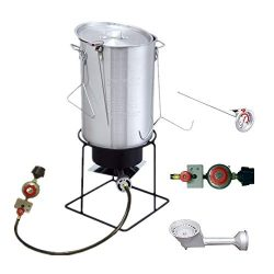 VIGIND Heavy Duty Welded Outdoor Cooker,29 Qt Aluminum Turkey Fryer Pot Kit with Lid