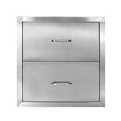 Seeutek Outdoor Kitchen Drawer 304 Stainless Steel 14″ W x 14.38″ H Double Layer Acc ...