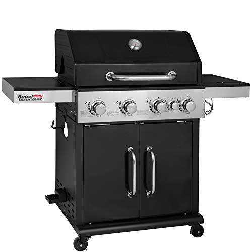 Royal Gourmet GG4201S 4 Propane Gas Grill with Side Burner 57,000BTU, Black