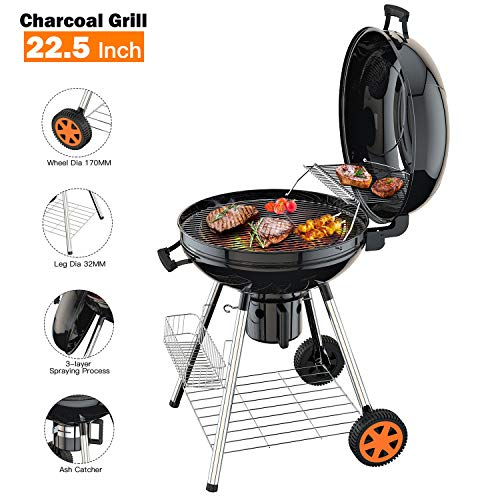 TACKLIFE Charcoal Grill, 22.5 inch Diameter Practical Advanced Double-Layer Grid Portable Grill, ...