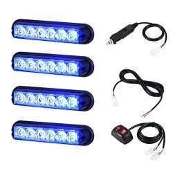 AT-HAIHAN 4 in 1 Blue Surface Mount Grill Light Head, 6W Bright LED Mini Strobe Lightbar for Vol ...