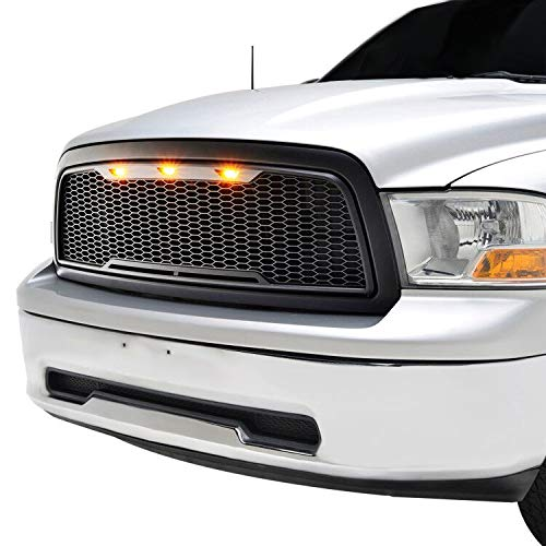 Raptor Style Upper Replacement Grille w/LED Amber Lighting for 09-12 Dodge Ram 1500 – Matt ...