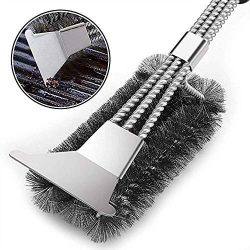 Vestaware Grill Brush Bristle Free – 18″ BBQ Grill Brush with 3 Rust Resistant Stain ...