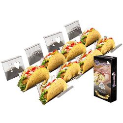 4-Pack Stainless Steel Taco Holder Stand – Wider & Stylish Taco Truck Trays, Holds up  ...