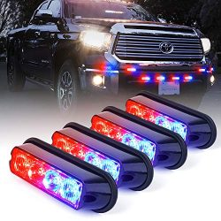 Xprite Red & Blue 4 LED 4 Watt Emergency Vehicle Waterproof Surface Mount Deck Dash Grille S ...