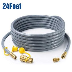 GASPRO 24 Feet 1/2″ ID Natural Gas Hose, Propane Gas Grill Quick Connect/Disconnect Hose A ...
