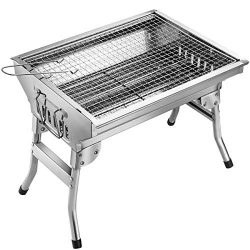 Homemaxs BBQ Grill, Stainless Steel BBQ Charcoal Grill, Portable Folding Outdoor Barbecue Griddl ...