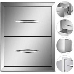 Mophorn Outdoor Kitchen Drawer Stainless Steel BBQ Storage with Chrome Handle Flush Mount Sliver ...