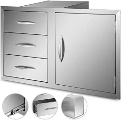 Mophorn Outdoor Kitchen Door Drawer Combo 39 Inch Stainless Steel Access Door/Triple Drawer Comb ...