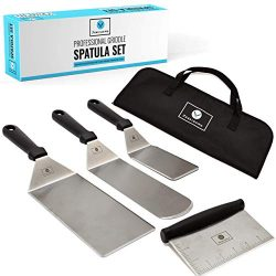 Deluxe Griddle Spatula Set – Professional Stainless Steel Cooking Kit – 3 Spatulas S ...