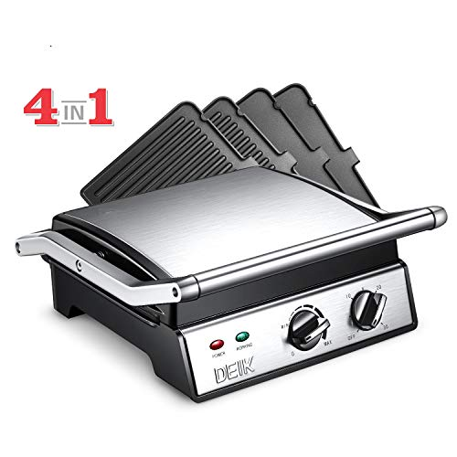 DEIK Electric Contact Grill Griddle, 1800W 6-in-1 Smokeless Indoor Grill with 4 Non-Stick Remova ...
