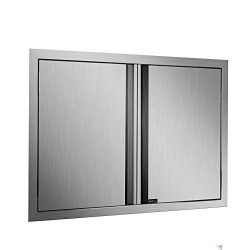 DaTOOL Stainless Steel BBQ Door,304 Brushed BBQ Access Door Cutout 30.5WX21H, Double BBQ Island  ...