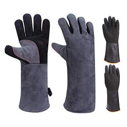GEEKHOM BBQ Gloves 16 inch Long 932°F Heat Resistant Leather Gloves Oven Mitts for Barbecue Gril ...