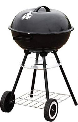 Unique Imports BBQ Charcoal Kettle Grill 18″ with Moving Wheels Outdoor Smoker Heat Portab ...