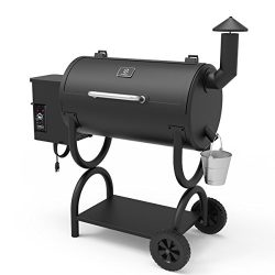 Z GRILLS Wood Pellet Grill 7-in-1 BBQ Smoker for Outdoor Cooking 550SQIN Barbecue Area 10LB Hopp ...