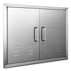 Mophorn 30 x 21Inch Double Door Flush Mount with Vents BBQ Access Door Stainless Steel for BBQ I ...