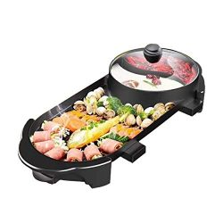 ThyWay 220V 2 In 1 Electric Barbecue Grill Teppanyaki Cook Fry Pan BBQ Oven Hot Pot Kitchen