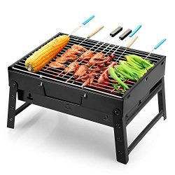 Uten Barbecue Grill Portable BBQ Charcoal Grill Smoker Grill for Outdoor Cooking Camping Hiking  ...