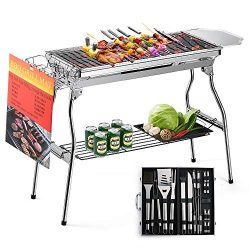 Glotoch Express Portable Stainless Steel Charcoal Barbecue Grill with 20pc Heavy Duty BBQ Grill  ...
