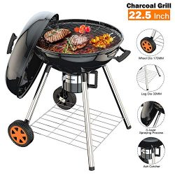 TACKLIFE Charcoal Grill, 22.5 inch Portable Advanced Grill with Digital Thermometer, One-Button  ...