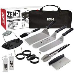 ZEN-T – 14 Piece Grill Griddle BBQ Tool Kit – Heavy Duty Professional Grade Stainles ...