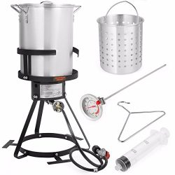 Stark Deluxe 30 QT Aluminum Turkey Deep Fryer Pot Boiling Lid and Gas Stove Burner Stand Injecto ...