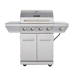 4-Burner Propane Gas Grill in Stainless Steel with Side Burner and Stainless Steel Doors