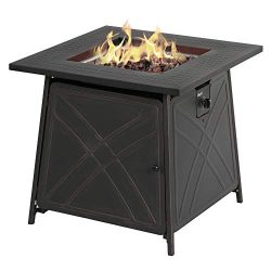 BALI OUTDOORS Firepit LP Gas Fireplace 28″ Square Table 50,000BTU Fire Pit, Best Firetable ...