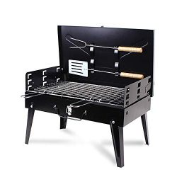 Xiangban Portable BBQ Charcoal Grill Set with Fork & Spatula – Small Barbeque Grills f ...