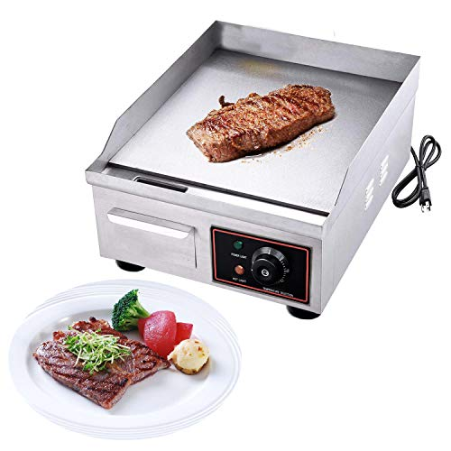 Proshopping 1500W 14″ Commercial Electric Countertop Griddle Grill, Stainless Steel Restau ...