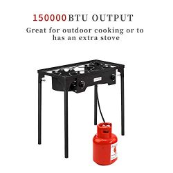 ROVSUN 2 Burner Outdoor Propane Gas Stove High Pressure, Stand Cooker for Backyard Cooking Campi ...
