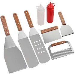 ROMANTICIST 8Pc Professional BBQ Griddle Accessories Kit in Gift Box – Heavy Duty Stainles ...