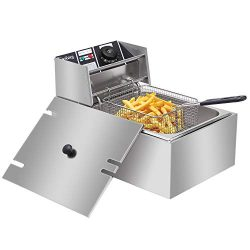 ZOKOP Electric Deep Fryer Stainless Steel with Basket Strainer Filter, 6.3QT/6L Capacity, for Ho ...
