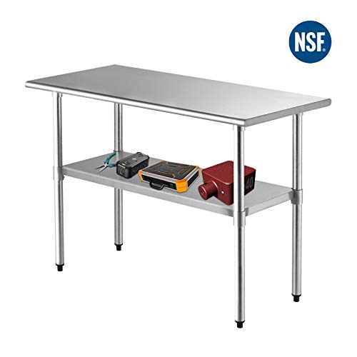 48″x24″ Commercial Prep Table -SUNCOO NSF Stainless Steel Workbench Adjustable Under ...