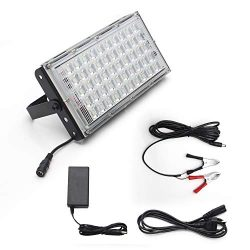 Portable LED Work Light,100W Ultra 50 LEDs BBQ Grill Light Super Bright Flood Security Lamp with ...