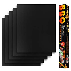 LauKingdom Grill Mat Set of 5 – 100% Non-Stick BBQ Grill Mats for Grill Accessories, Heavy ...