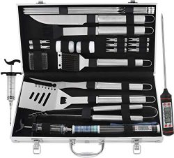 grilljoy BBQ Grill Tool Set, 24pcs Stainless Steel BBQ Accessories in Aluminum Case, Premium Com ...