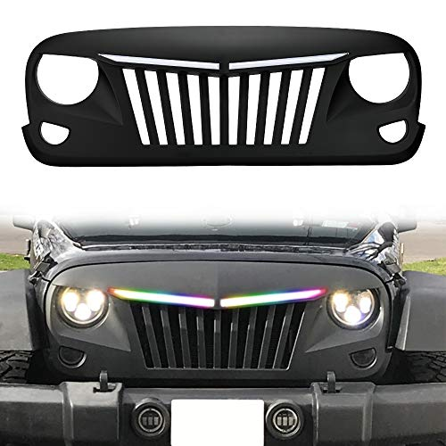 SUNPIE Jeep Wrangler JK Grill with RGB Sequential LED Light Bars – Matte Black Grille Repl ...
