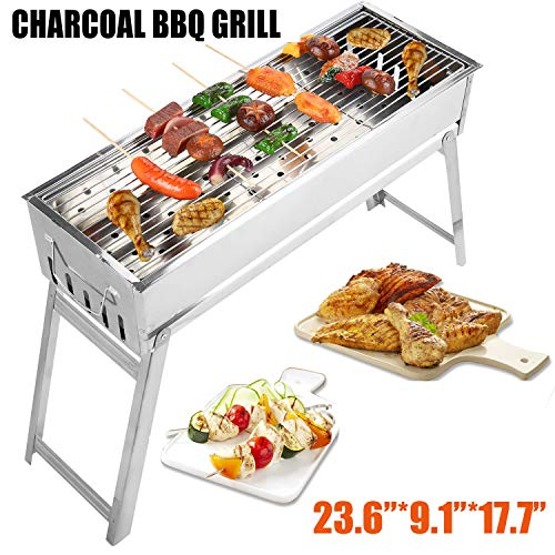 Portbale Charcoal BBQ Grill Stainless Steel Foldable Outdoor Barbecue Grill Barbecue Tool Kits f ...
