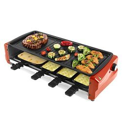 Techwood Electric Raclette Grill, Raclette Cheese with Thermostat Control, Non-Stick Grill Plate ...